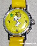 Snoopy playing tennis with yellow band Watch