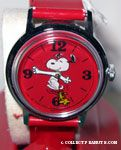 Snoopy dancing with Woodstock on Red Face & Band