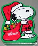 Santa Snoopy holding gift sack Tin Container