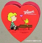 Woodstock singing on Schroeder's piano Heart-shaped Valentine's Chocolate Box