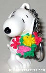 Snoopy holding flower bouquet with Woodstock PVC Keychain