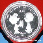 Peanuts Valentine's Silver Collector's Coin 1988 1 Troy Oz