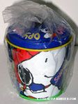 Snoopy playing baseball Pail with lid