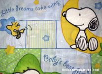 Snoopy & Woodstock with moon and stars Fabric