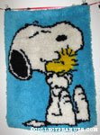 Snoopy hugging Woodstock Latch Hook Rug