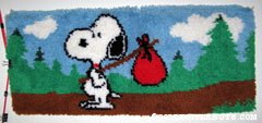 Snoopy 'Come Home' hobo pack Latch Hook Rug