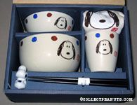 Snoopy Portrait Bowls, Cup, Napkin, Chopsticks and Chopstick rest Set