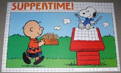 Snoopy sitting on doghouse Charlie Brown with dog dish of french fried 'Suppertime' Placemat