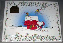 Snoopy & Woodstocks decorating doghouse 'Merry Christmas' Placemats