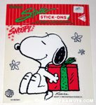 Snoopy holding Christmas gift Static Stick-on