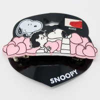 Snoopy kissing Lucy with pink hearts Hair Clip