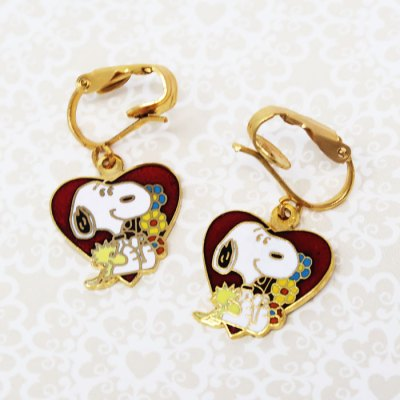 Snoopy & Woodstock with heart Clip-on Earrings
