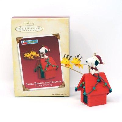 Santa Snoopy and Reindeer Woodstocks on Doghouse Christmas Ornament