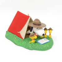 Snoopy & Beagle scouts around campfire Ornament