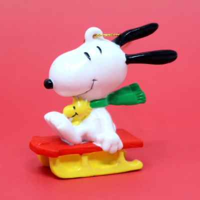 Snoopy & Woodstock on Red & Yellow Sled Ornament