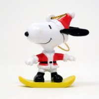 Santa Snoopy on Snowboard Ornament