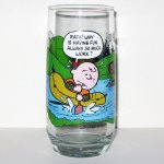 Charlie Brown rowing raft McDonald's Camp Snoopy Glass