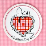 Snoopy laying on heart 1977 Valentine's Day Plate