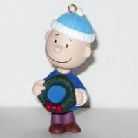 Charlie Brown Holding Wreath Ornament