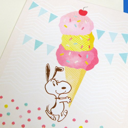 Detail of Snoopy ice cream card including glitter