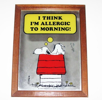 Snoopy 'Allergic to Morning' Small Mirror