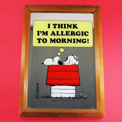 Snoopy 'Allergic to Morning' Large Mirror
