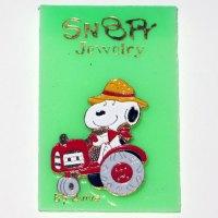 Snoopy Farmer on Tractor Pin