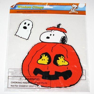Snoopy & Woodstocks in Pumpkin Halloween Window Gel Cling