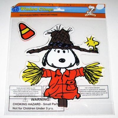 Snoopy Scarecrow Halloween Window Gel Cling