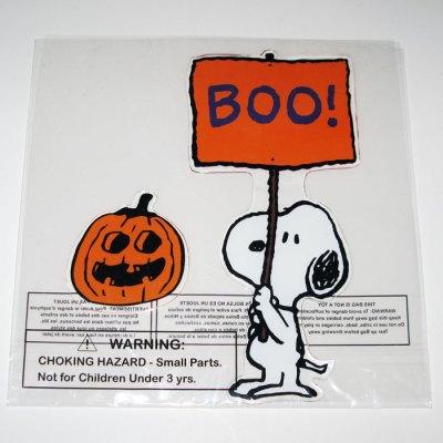 Snoopy Boo! Sign Halloween Window Gel Cling