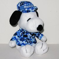 Snoopy wearing blue military camouflage Plush Toy