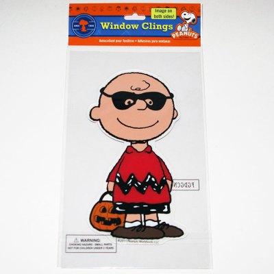 Charlie Brown in Mask Halloween Window Gel Cling