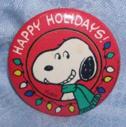 Snoopy Happy Holidays Hallmark Pinback Button
