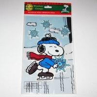 Santa Skating with Snowflakes Gel Cling