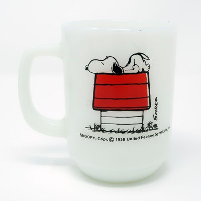 Snoopy 'Allergic to Mornings' Milk Glass Mug - Front