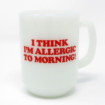 Snoopy 'Allergic to Mornings' Milk Glass Mug - Back