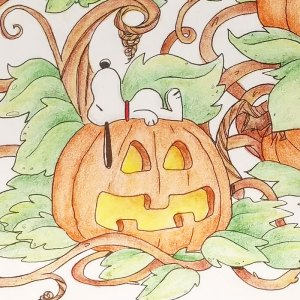 Linus and Snoopy Halloween Coloring Page - Peanuts Adult Coloring Book