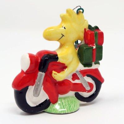 Woodstock on Motorcycle Ceramic Christmas Ornament