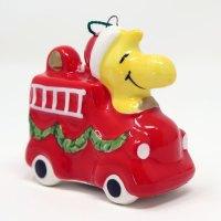 Woodstock on Fire Truck Ceramic Christmas Ornament