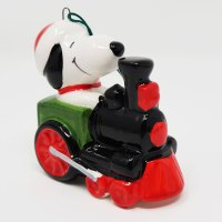 Snoopy on Train Engine Ceramic Christmas Ornament