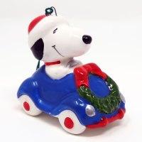 Snoopy in Car Ceramic Christmas Ornament