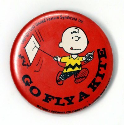 Charlie Brown Flying Kite Button