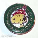 Snoopy wearing stocking cap pin, Denz