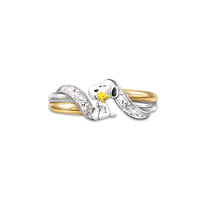 Alt View - Snoopy Ring - Sterling Silver and 18k Gold