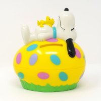 Snoopy & Woodstock laying on yellow egg Bank Candy Container