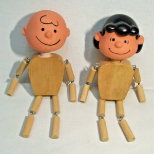 Lucy and Charlie Brown Wooden Dolls