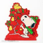 Snoopy and Woodstock dancing on Christmas doghouse Gift Trim