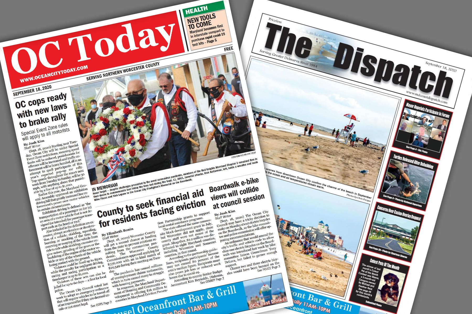 Newspapers Ocean City Today and The Maryland Dispatch front pages