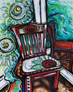 "Chair #4; 2016; 19"" x 15""; mixed media: oil-based ink, watercolor, acrylic."