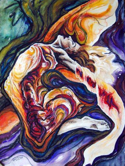 "Called; 2013; 22"" x 30""; mixed media: charcoal, watercolor, pencil, pastel."
